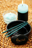 Soul. Pebble and incense sticks - beauty treatment Stock Photos