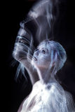 Soul flies up, creative concept, portrait of a Stock Images