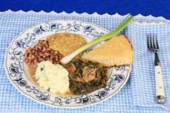 Soul Food on Blue Gingham Royalty Free Stock Photos