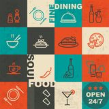 Soul food restaurant. Icons on vintage background Stock Photo