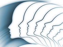 Soul Geometry Backdrop. Geometry of Soul series. Composition of profile lines of human head on the subject of education, science, technology and graphic design Stock Photo