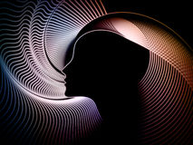 Soul Geometry Background. Geometry of Soul series. Arrangement of profile lines of human head on the subject of education, science, technology and graphic design Royalty Free Stock Images