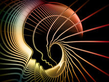 Soul Geometry Metaphor. Geometry of Soul series. Interplay of profile lines of human head on the subject of education, science, technology and graphic design Stock Photo