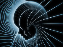 Soul Geometry Metaphor. Geometry of Soul series. Interplay of profile lines of human head on the subject of education, science, technology and graphic design Stock Image