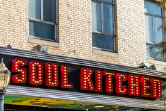 Soul Kitchen Birmingham Alabama Neon Sign. Neon sign during day of SOUL KITCHEN located in Birmingham Alabama royalty free stock image