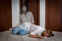 Soul leaves the body after the woman`s death Stock Images