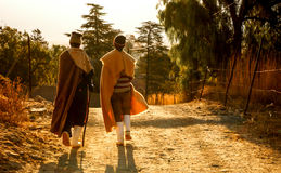 The soul of Lesotho people. Basotho farmers in Morija Lesotho wearing blankets and walking down the street of their village stock photography