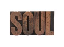 Soul in letterpress wood type Royalty Free Stock Image