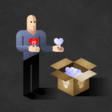 Soul Light To Sale. Cartoon man copying shape of his heart to light bulbs. Comic picture, illustrated allegory of an emotional side of our life Royalty Free Stock Photo