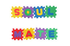 Soul Mate. Message Soul Mate, from letter puzzle, isolated on white background Royalty Free Stock Images