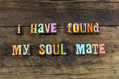 Soul mate forever friend happy typography type royalty free stock photography