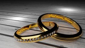 Soul mates forever - warm, glowing words inside two tied golden rings to symbolize eternal love and marriage bond stock illustration