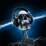 Soul music. 3D render of metal skeleton with electrified headphones Royalty Free Stock Photography