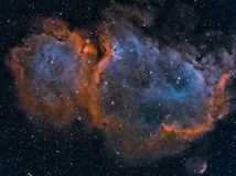 Soul Nebula. Narrowband image of the Soul Nebula in the constellation Cassiopeia which is prominent in the northeastern Summer and Fall skies.  Produced from Royalty Free Stock Image