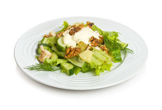 Soul of the party salad. 'Soul of the party' salad with cucumbers, pineapple, chicken, circassian walnuts, lettuce and mayonnaise Royalty Free Stock Photos