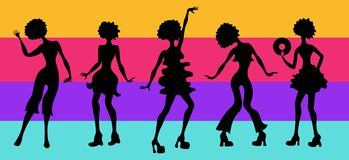 Soul Party Time. Dancers of soul silhouette funk or disco.People in 1980s, eighties style clothes dancing disco, cartoon vector il. Lustration on striped Stock Photography