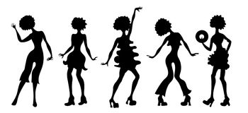 Soul Party Time. Dancers of soul silhouette funk or disco.People in 1980s, eighties style clothes dancing disco, cartoon vector il. Lustration. Retro woman in Stock Images