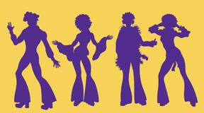 Soul Party Time. Dancers of soul silhouette funk or disco.People in 1980s, eighties style clothes dancing disco,. Cartoon vector illustration  on yellow.Men and Royalty Free Stock Images