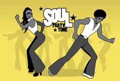Soul Party Time. Young couple dancing soul, funk or disco. Retro style Royalty Free Stock Photos
