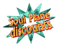 Soul Plane icon with the text discount on white background. Closeup Royalty Free Stock Photos