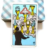7 Seven of Cups Tarot Card Emotional Growth and Development Celebration Weddings Toasts Friends. Soul Searching Finding Out Where You Fit In Self-Examination Stock Image