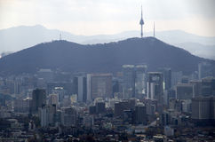Soul sky view with Seoul Tower Stock Photo