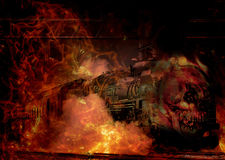 Soul Train. Long black soul collecting train. Phot art of an old steam engine burning it`s way to collect it`s souls Royalty Free Stock Image