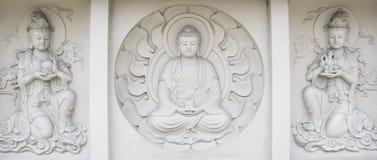 Soulagement de Bas de Bouddha, dans le monastère bouddhiste de mendut Photographie stock libre de droits