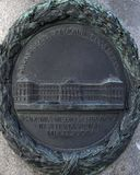 Soulagement en bronze sur un de quatre piliers entourant le piédestal de la statue équestre de l'empereur Joseph II, Josefsplatz, photographie stock libre de droits