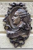 Soulagement sculptural en bronze de Casanova à Lviv Ukraine Photographie stock libre de droits