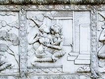 Soulagements bas de mur de temple de la Thaïlande, Ayutthaya, découpages des étrangers, dieux Photos libres de droits