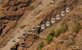Soulevez à la caldeira, Fira Santorini Images libres de droits