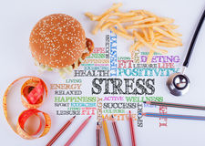 Soulignez l'inscription sur la table Alimentation saine, mode de vie, BO images stock