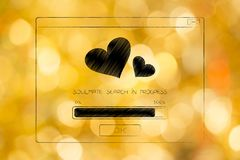Soulmate search in progress pop-up message with loveheart icon Stock Images