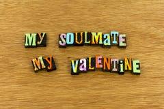 Soulmate valentine amorek wita romantycznego letterpress zdjęcia royalty free