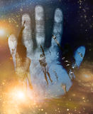 Souls reach up to paradise. And human hand Stock Photo