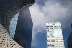 Soumaya and Carso Buildings. MEXICO CITY, MEXICO -  DEC, 27, 2012: Plaza Carso is a building complex consisting of the Soumaya museum, commercial and residential Royalty Free Stock Image
