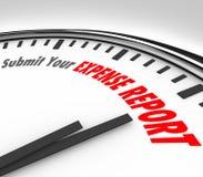 Soumettez votre temps de date-butoir d'horloge de mots de rapport de dépenses Image libre de droits