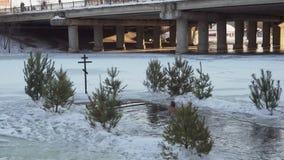 Soumi, de Oekraïne - 19 Januari, 2019: Een mens loopt in het gat en duikt in het ijzige water Epiphany het baden in Oost-Europa stock videobeelden