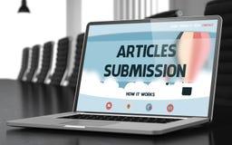 Soumission d'articles - sur l'écran d'ordinateur portable closeup 3d image libre de droits