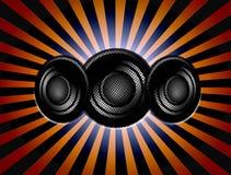 Sound. Three black speaker over stripe background. sound illustration Stock Image