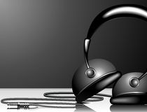 Sound. Illustration for musical theme with headphone on black background Stock Photography