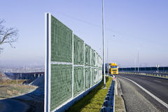Sound absorption walls. On a highway Stock Photos
