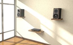 Sound equipment in the room 3d illustration. Sound amplifier and loudspeakers on shlves in the room 3d illustration Royalty Free Stock Image