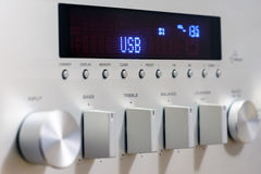 Sound amplifier receiver front panel Stock Image