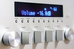 Sound amplifier receiver front panel Stock Photo