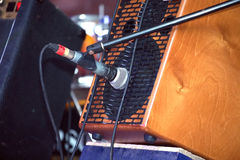 Sound amplifying equipment on concert stage Royalty Free Stock Image