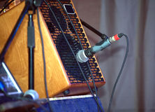 Sound amplifying equipment on concert stage Royalty Free Stock Images