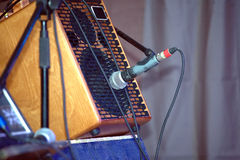 Sound amplifying equipment on concert stage Stock Photos