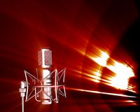 Sound attack. Illustration of microphone receiving sound waves frequencies royalty free illustration